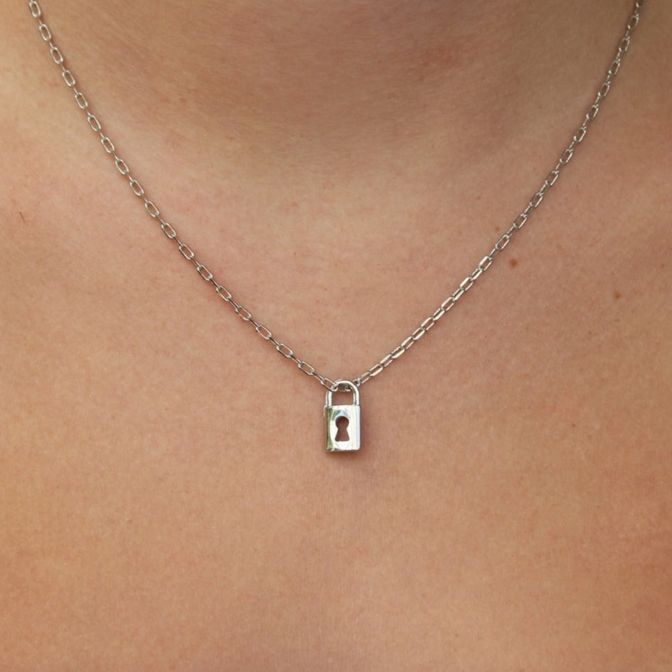 dainty silver lock necklace
