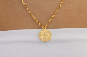 gold-leaf coin pendant necklace