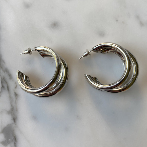 chunky layered silver hoops