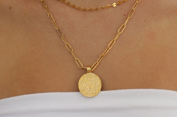 textured coin link chain necklace