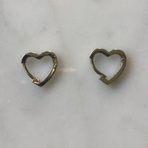 mini silver crystal heart huggies