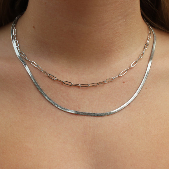 layered silver serpentine necklace
