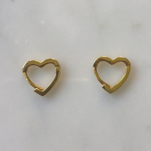 mini gold crystal heart huggies