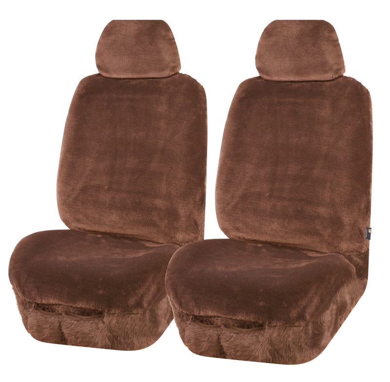 Universal Finesse Faux Fur Front Seat Covers Size 30/35 - Mocha