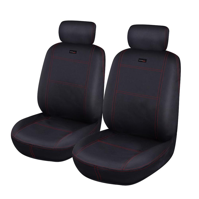Universal Sharkskin Front Seat Covers Size 30/35 - Black / Red Stitching