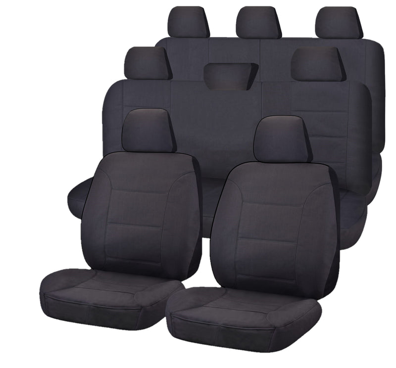 Tailor Made All Terrain Seat Covers for TOYOTA LANDCRUISER 200 SERIES 11/2007-ON 4X4 SUV/WAGON 8 SEATER CHARCOAL