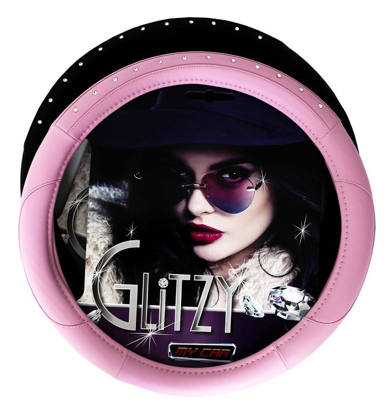 GLITZY Steering Wheel Cover with Encrusted Diamontes - PINK