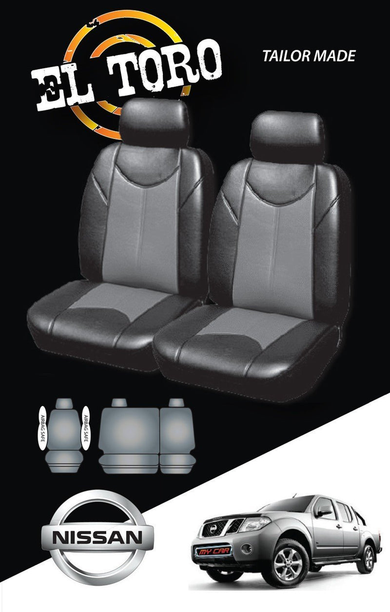 Leather Look PVC Seat Covers for Nissan Navara Fr 10/2007-On D40 Black Dual-Cab