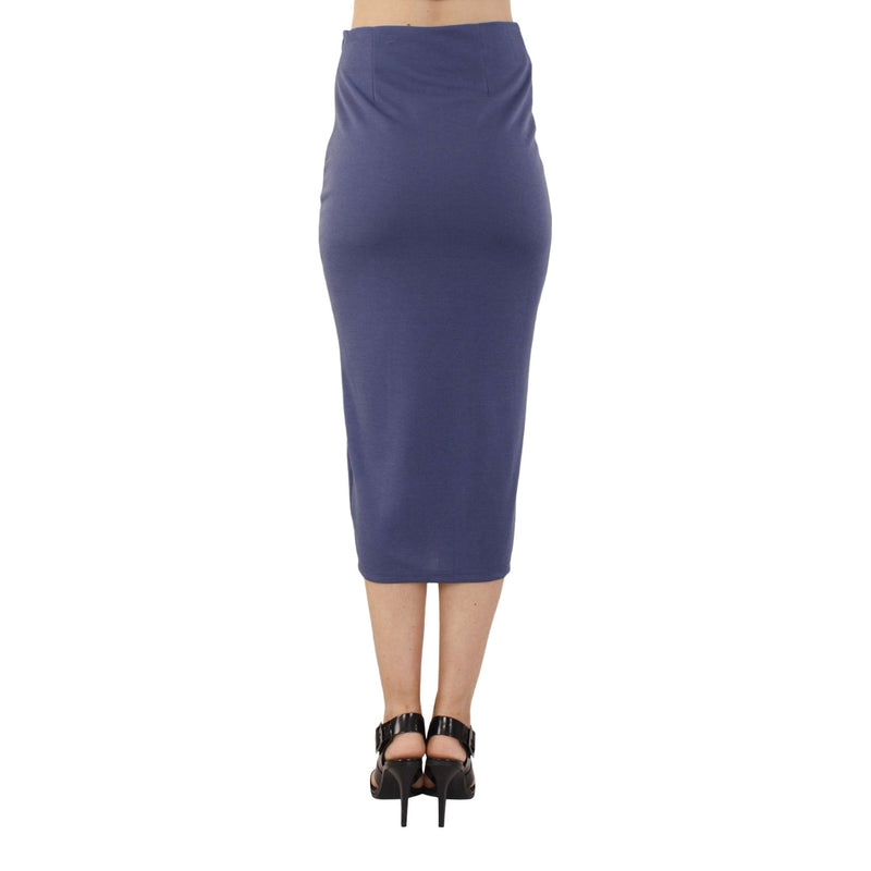 Fitted Midi Skirt With Spli In Royal Blue