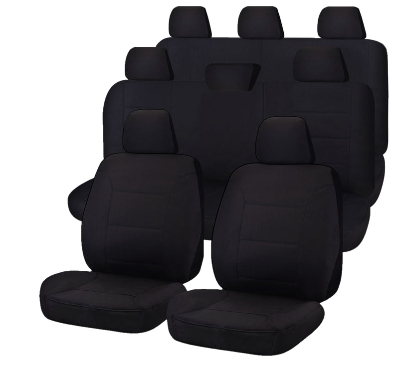 Tailor Made All Terrain Seat Covers for TOYOTA LANDCRUISER 200 SERIES 11/2007-ON 4X4 SUV/WAGON 8 SEATER BLACK