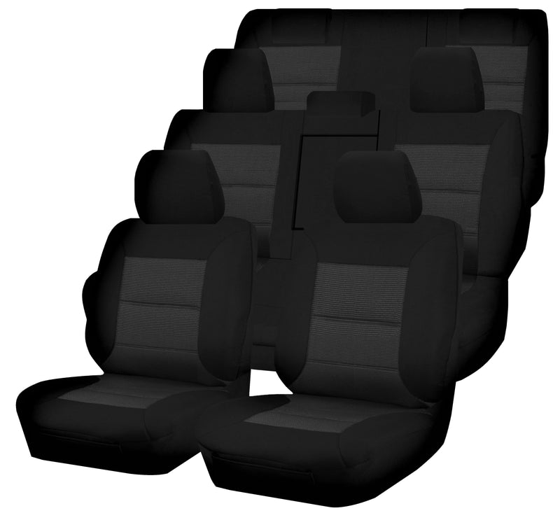 Tailor Made Premium Seat Covers for TOYOTA KLUGER GSU50R/GSU55R SERIES 03/2013-ON 4X4 SUV/WAGON 7 SEATER BLACK