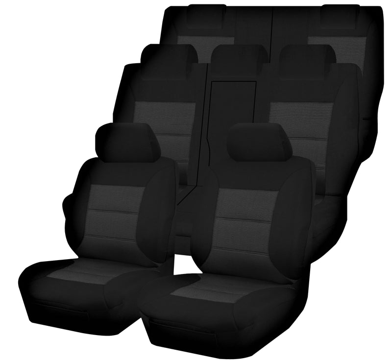 Tailor Made Premium Seat Covers for MITSUBISHI OUTLANDER ZJ-ZK-ZL SERIES 11/2012-ON 4X4 SUV/WAGON 7 SEATER BLACK