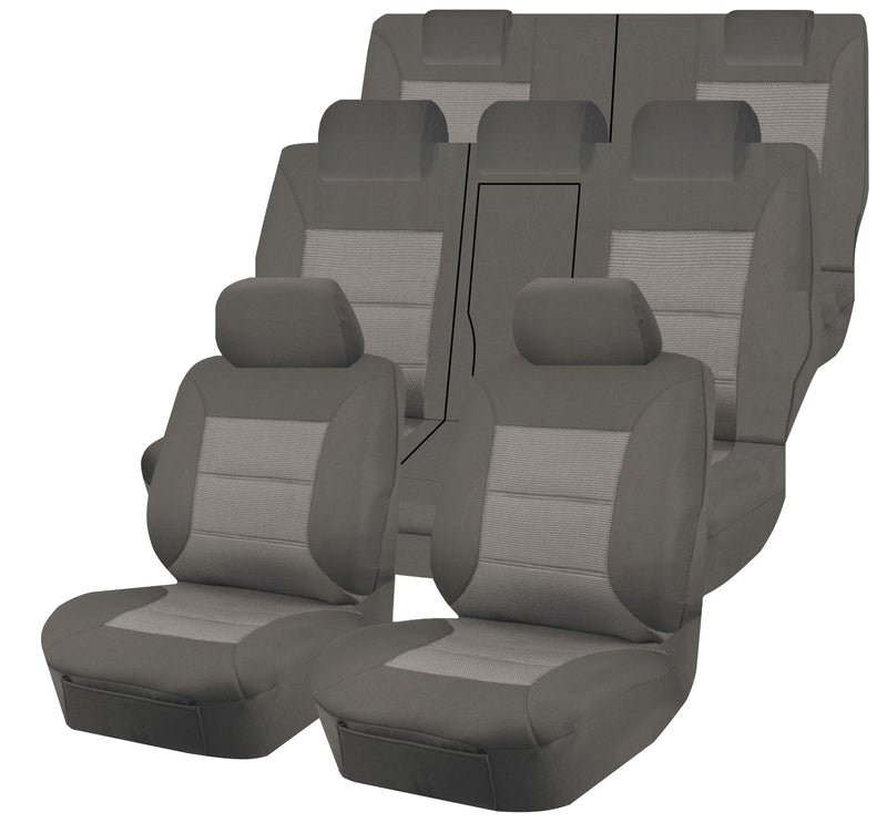 Tailor Made Premium Seat Covers for MITSUBISHI OUTLANDER ZJ-ZK-ZL SERIES 11/2012-ON 4X4 SUV/WAGON 7 SEATER GREY