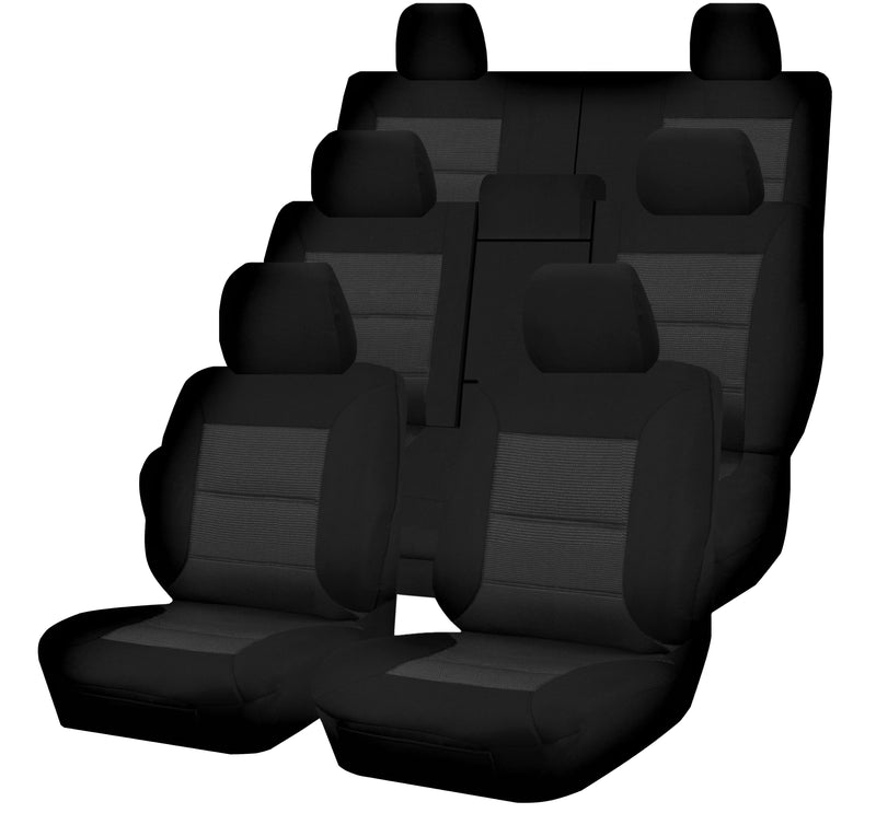 Tailor Made Premium Seat Covers for TOYOTA PRADO KDJ-GRJ150R SERIES 11/2009-ON 4X4 SUV/WAGON 7 SEATER BLACK