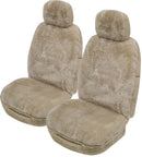 Universal Alpine 25mm Thick Pile Sheepskin Front Seat Covers Size 30/35 -Mocha