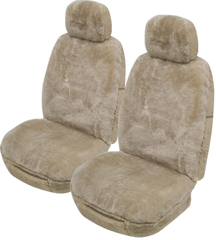 Universal Merinos 25mm Thick Pile Sheepskin Front Seat Covers Size 30/35 - Mocha