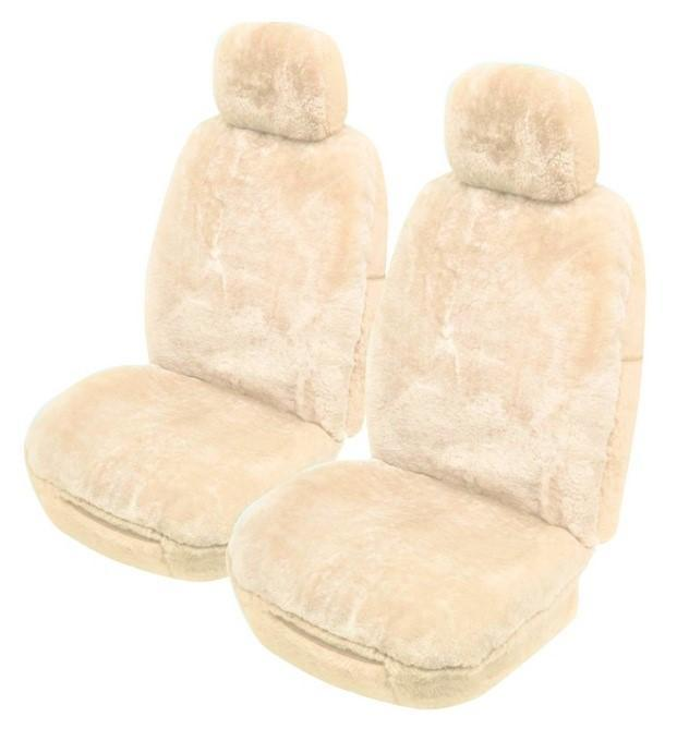 Universal Softfleece 20mm Thick Pile Sheepskin Front Seat Covers Size 30/35 - Ivory