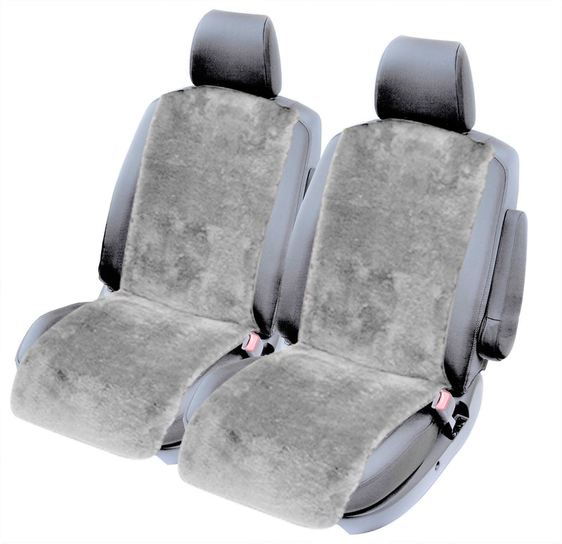 Universal Insert Slip-on 20mm Thick Pile Sheepskin Seat Covers- Grey