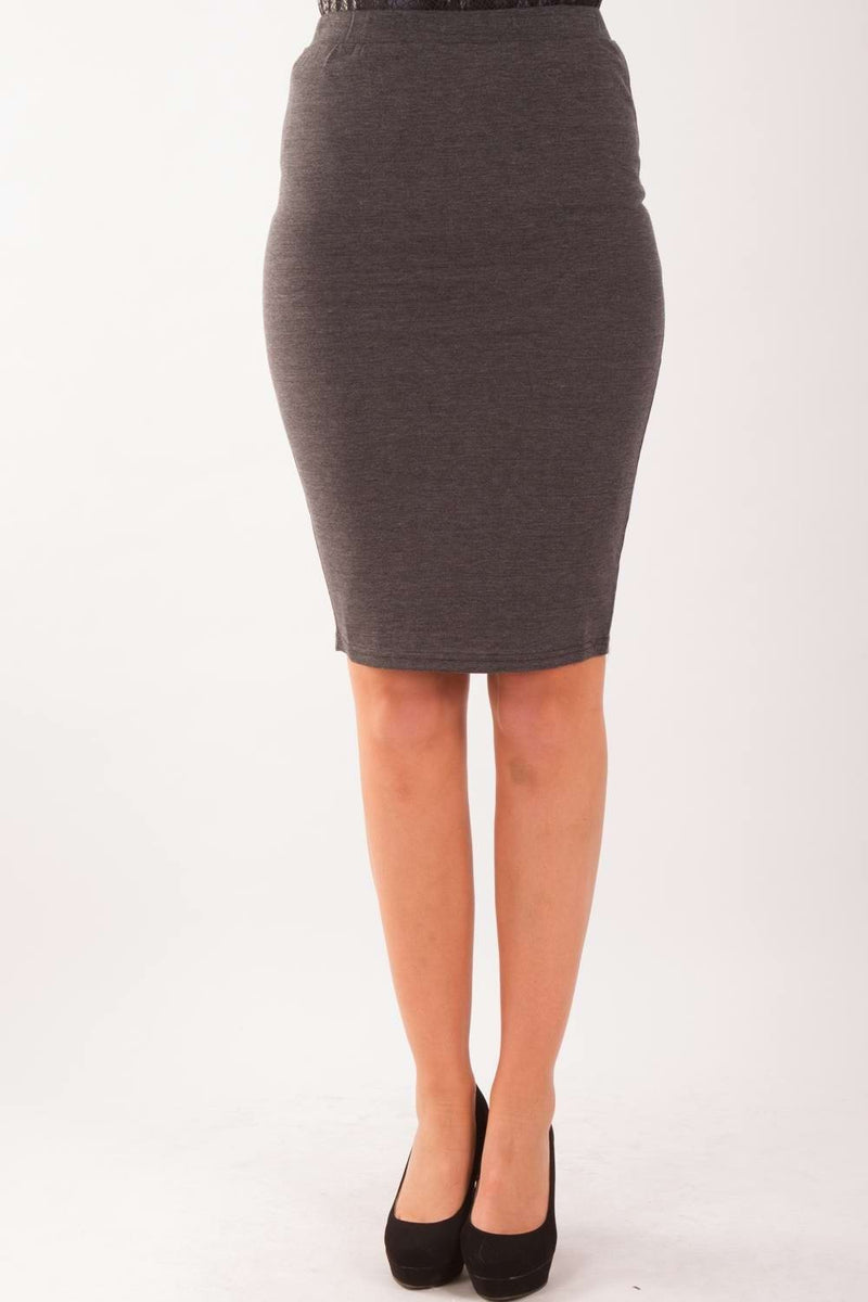 High Waisted Pencil Skirt In Charcoal