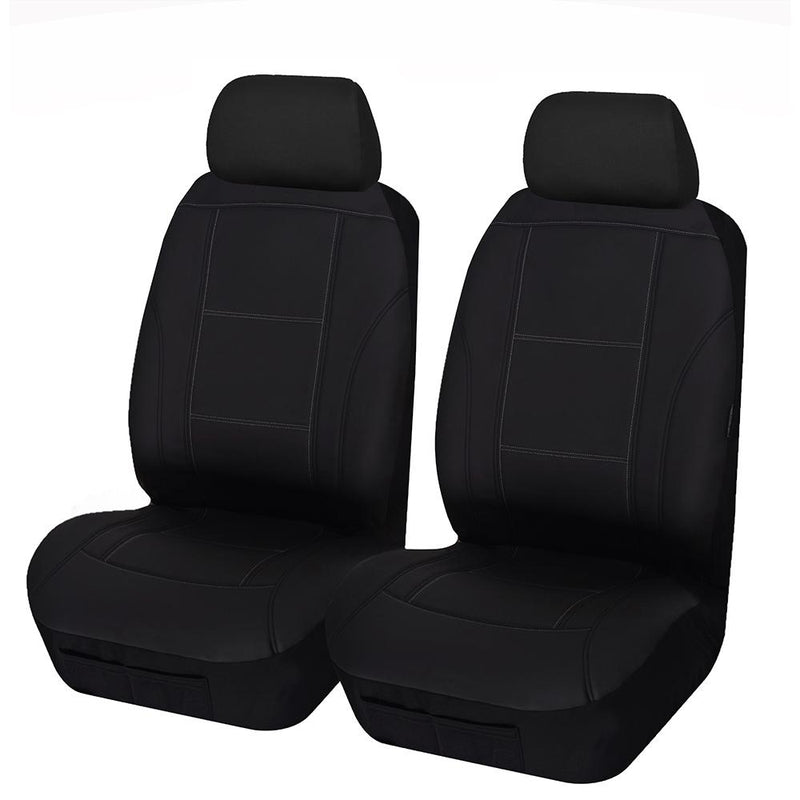 Universal Lavish Front Seat Covers Size 30/35 - Black/White Stitching