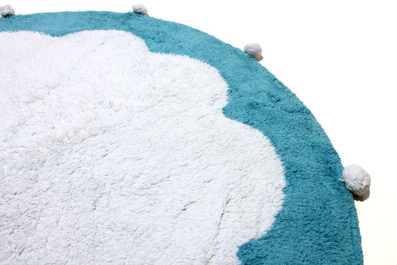 Washable Natural Cotton Mood Pompom Round Rug Blue