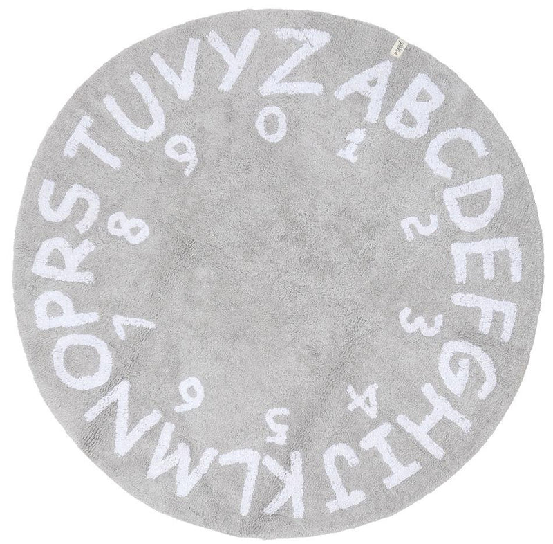 Washable Natural Cotton Mood Numbers/ABC Round Rug Light