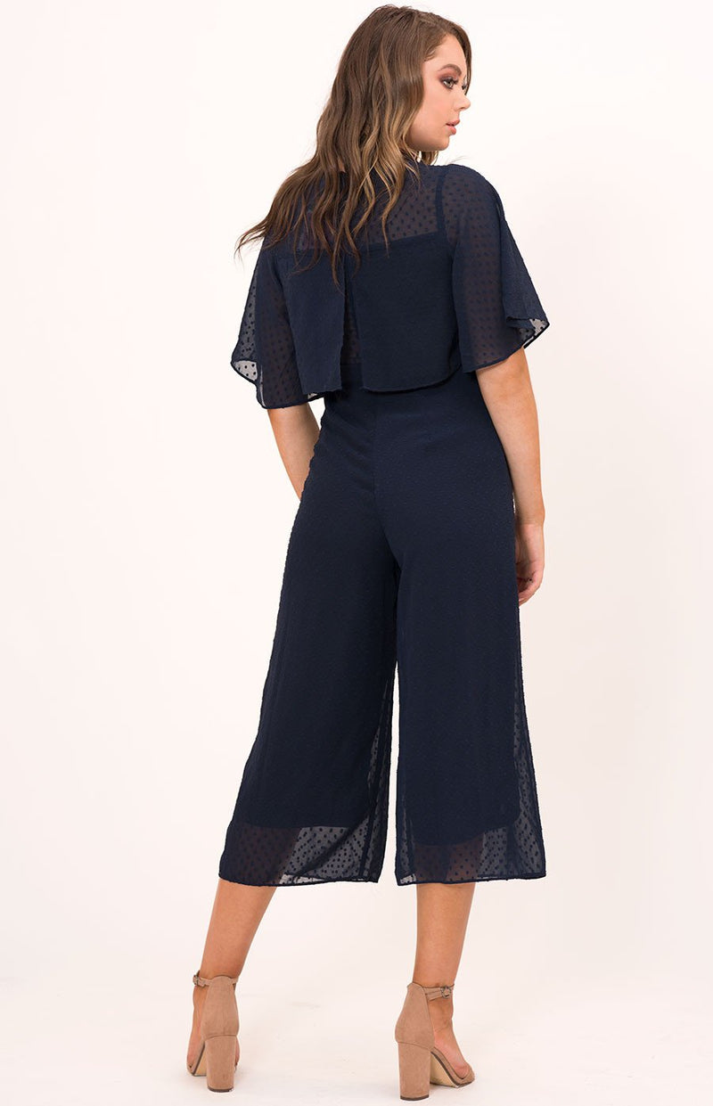 Rounded Neckline Textured Jumpsuit With Bust Detail In Navy
