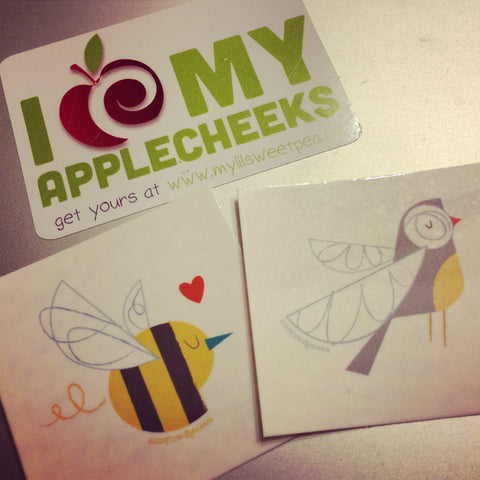 AppleCheeks Bee temporary tattoos