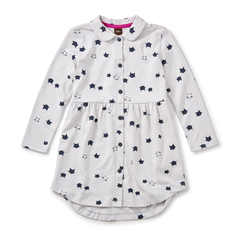 Moggy Cat Shirt Dress by Tea Collection