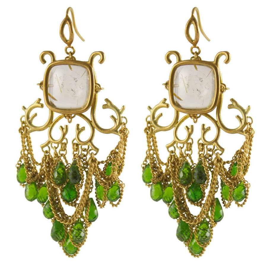 Anthony Nak Jewelry Anthony Nak <br> Cushion Chandelier Diopside Briolettes Earrings