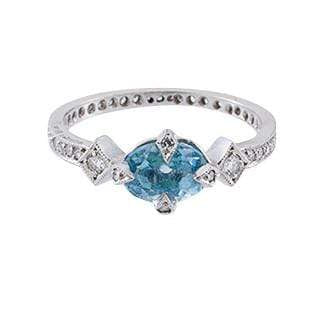 Cathy Waterman Jewelry Cathy Waterman <br> Aqua Antique Prong Round Ring