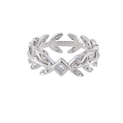 Cathy Waterman Jewelry Cathy Waterman <br> Wheat Band with Princess Cut Center Diamond Ring