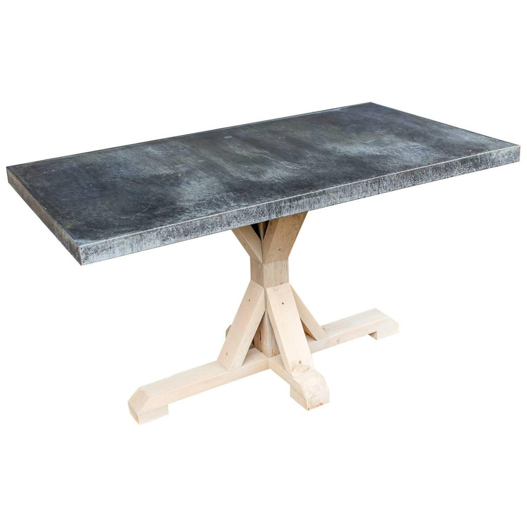 Galvanized Zinc Metal Top Dining Table with Wood Base