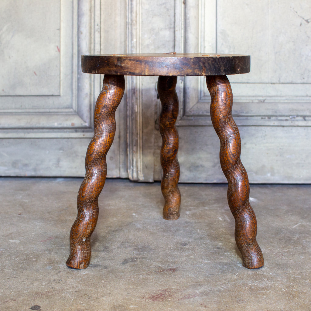 Vintage French Carved Oak Milking Stool