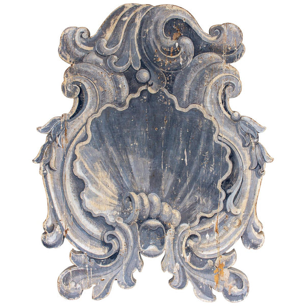 Antique Hand-Painted Italian Trompe l'oeil Plaque in Shell Motif