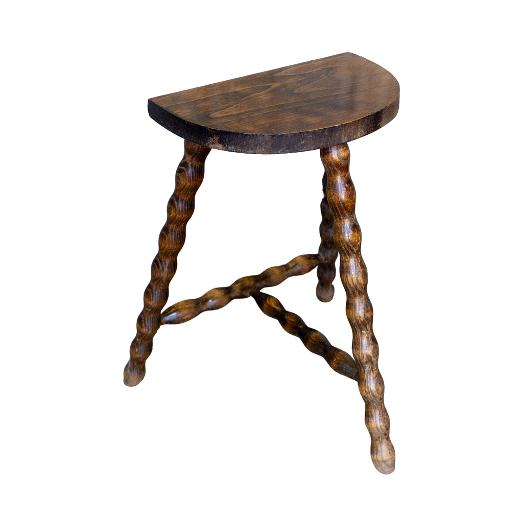 Vintage French Carved Wood Stool with Demilune Top