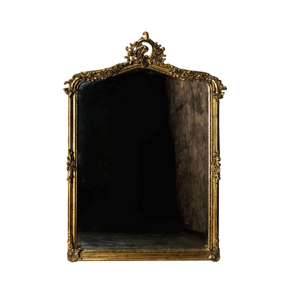 French Henri Hand-Carved Beveled Mirror in Hand Gilt Frame