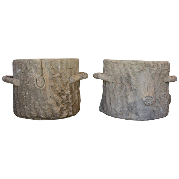 Pair of Large Vintage French Faux Bois Tree Stump Planters