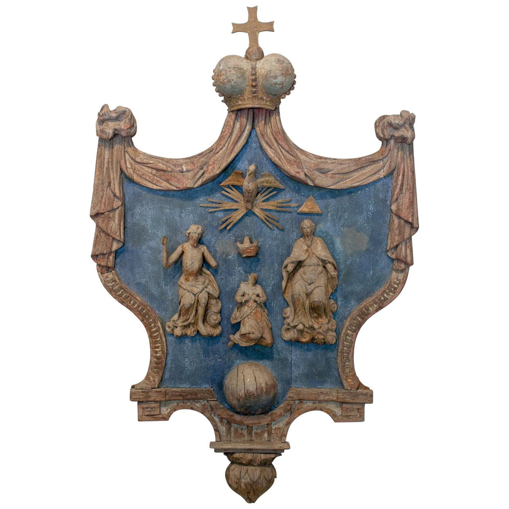 Hand Carved 17th Century French Religious Plaque of the Holy Trinity