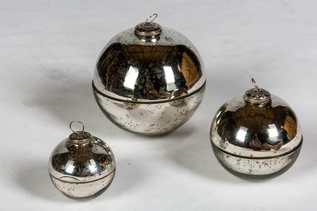 Handmade French Mercury Glass Ornament Candles in Silver | Three Sizes