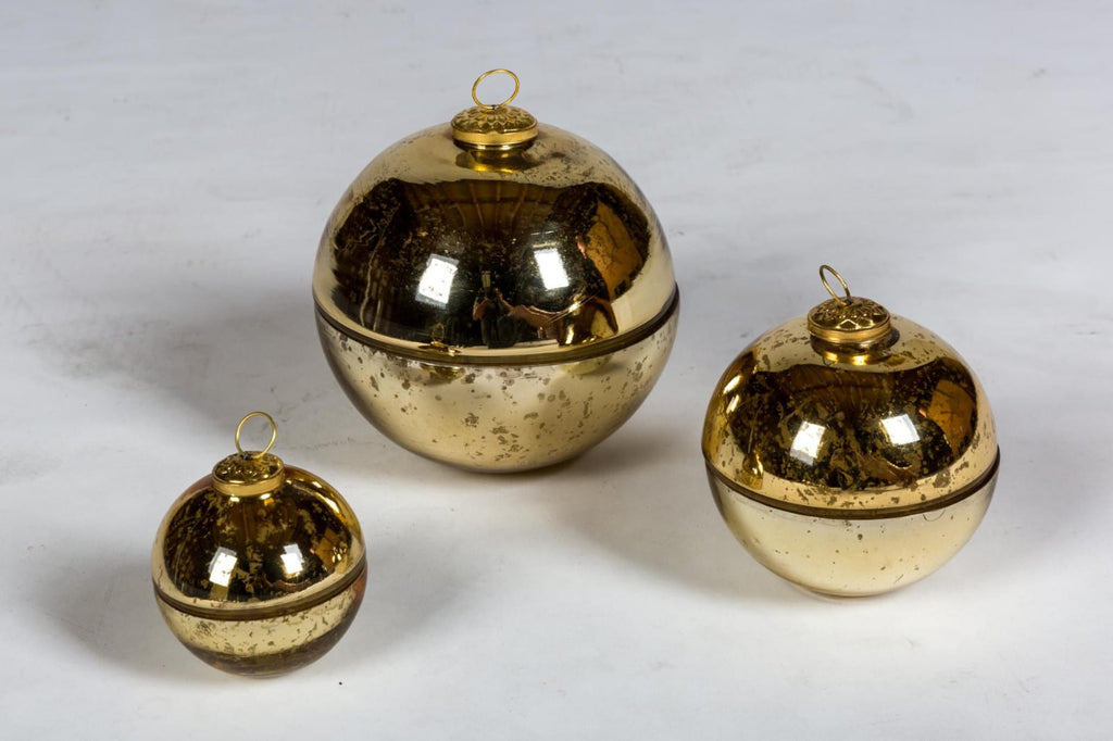 Handmade French Mercury Glass Ornament Candles in Gold | Three Sizes