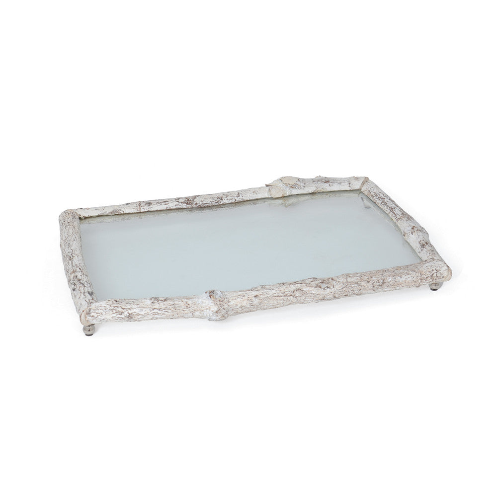 Whitewash Birch & Glass Tray