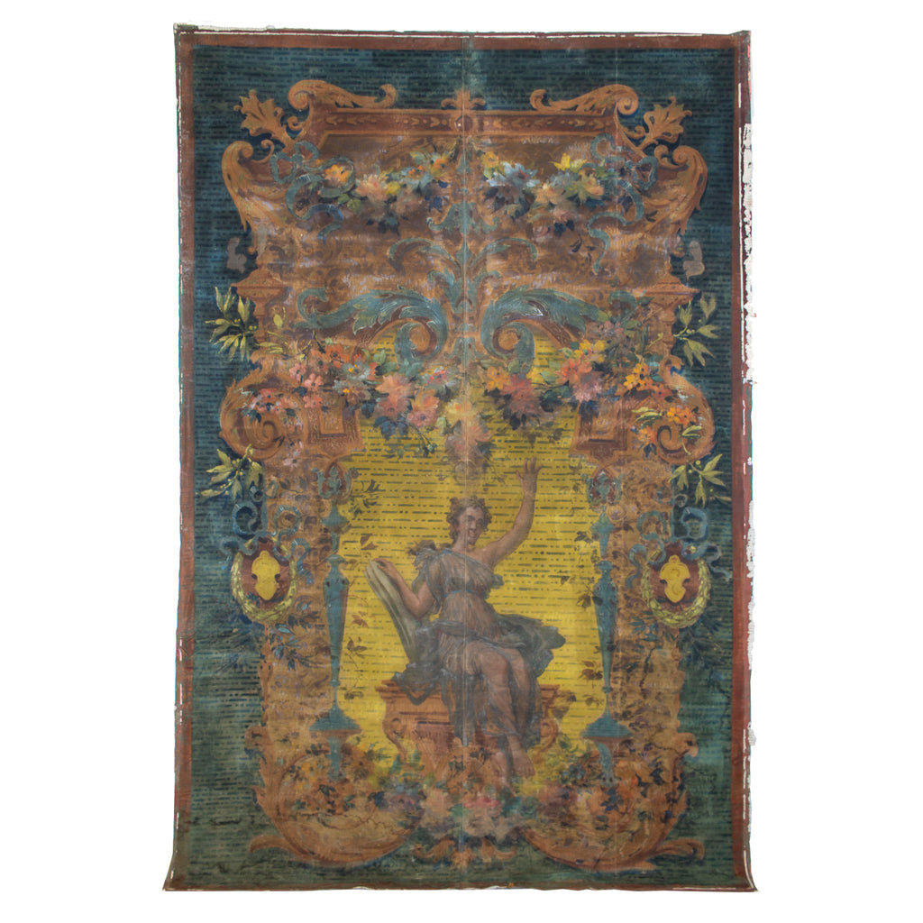 19th Century French Painted Aubusson-Style Tapestry Cartoon on Canvas