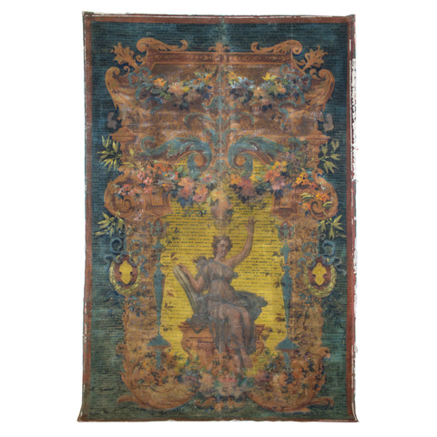 18th Century French Painted Aubusson-Style Tapestry Cartoon on Canvas