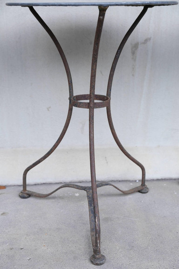 1920s French Iron and Zinc Bistro & Garden Side Table (Three Available)