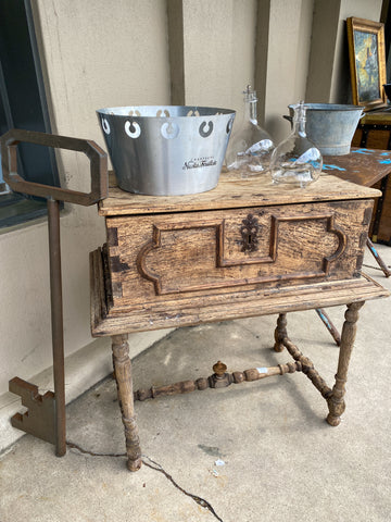 18th Century French Wooden Coffer Chest with Stand
