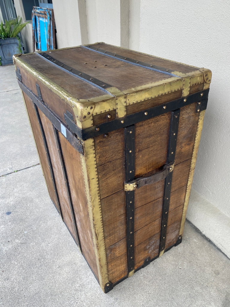 Antique French Malard Paris Steamer Trunk with Brass Hardware & London Bridge Label