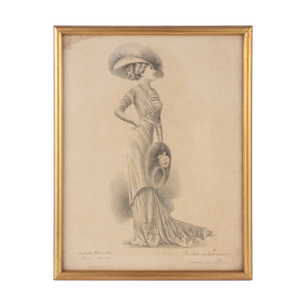 Antique French Fashion Print in Frame