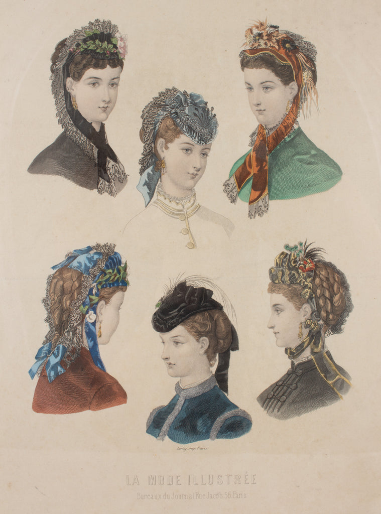 Antique French Hairstyle Fashion Print in Floating Frame
