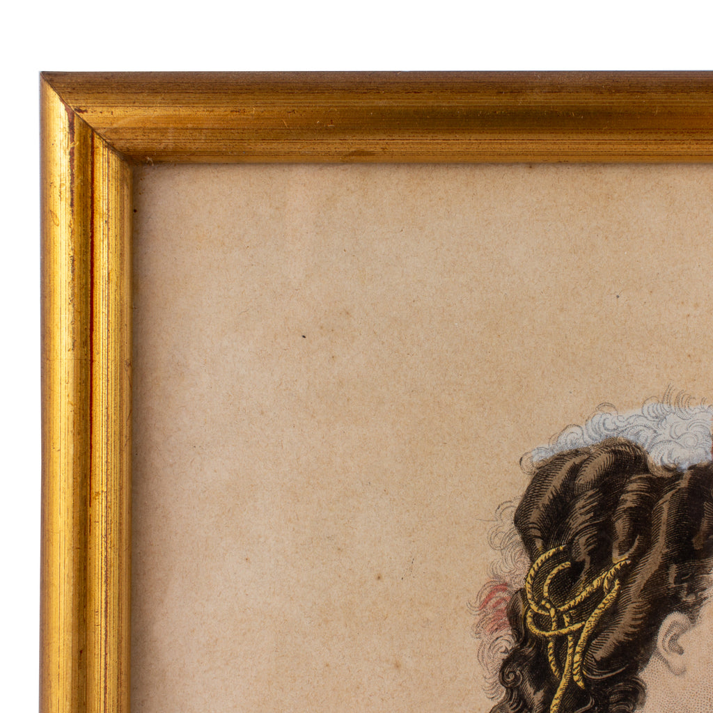 Antique French Hairstyle Fashion Print in Frame